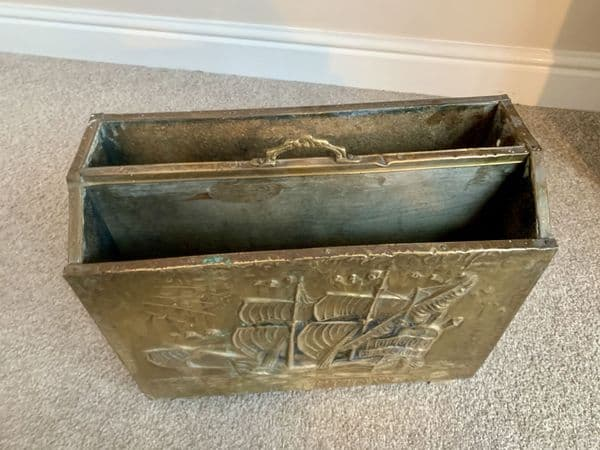 Arts and Crafts Movement hammered  brass magazine rack